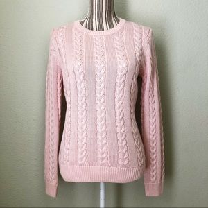 Brooks Brothers Cable Knit Sweater Pink M